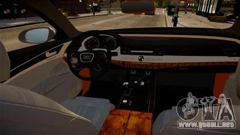 Limusina Audi A8 para GTA 4 vista interior