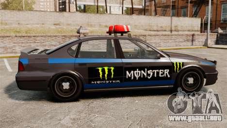 Policía Monster Energy para GTA 4 Vista posterior izquierda