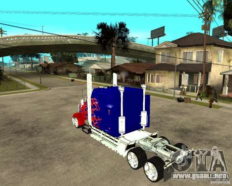 Truck Optimus Prime para GTA San Andreas left