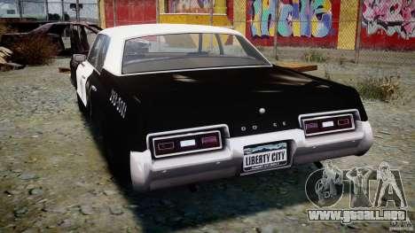 Dodge Monaco 1974 (bluesmobile) para GTA 4 Vista posterior izquierda