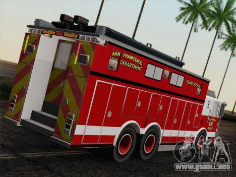 Pierce Walk-in SFFD Heavy Rescue para GTA San Andreas vista posterior izquierda