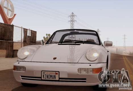 Porsche 911 Carrera 4 Targa (964) 1989 para GTA San Andreas vista posterior izquierda
