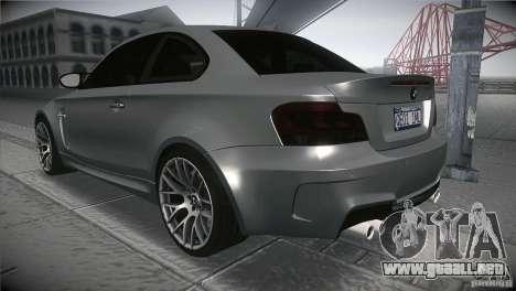 BMW 1M E82 Coupe 2011 V1.0 para GTA San Andreas vista posterior izquierda