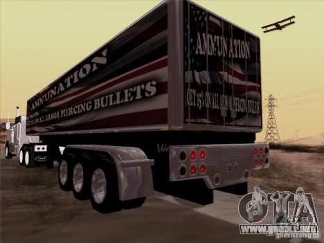 Trailer, Peterbilt 377 para GTA San Andreas vista posterior izquierda