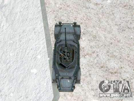 Vehículo blindado de juego tras las líneas enemi para GTA San Andreas vista hacia atrás