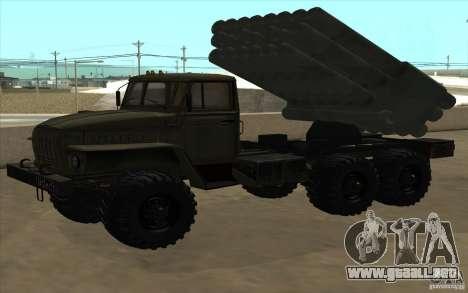 Ural 4320 Grad v2 para GTA San Andreas vista hacia atrás