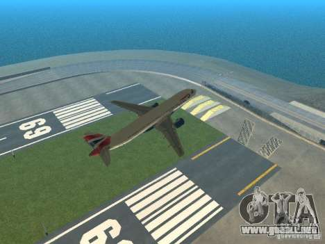 Airbus A320 British Airways para vista inferior GTA San Andreas