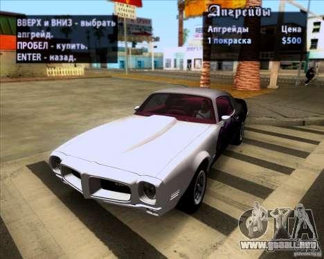 Pontiac Firebird 1970 para GTA San Andreas vista hacia atrás