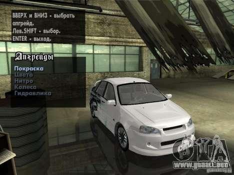 Lada Kalina Sport Tuning para visión interna GTA San Andreas