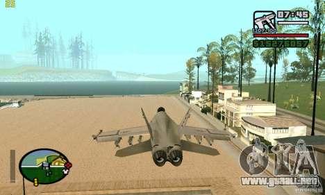 F-18 Super Hornet para GTA San Andreas vista posterior izquierda