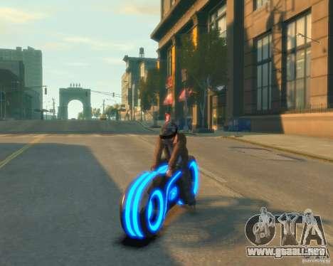 Motocicleta del trono (azul neón) para GTA 4 Vista posterior izquierda