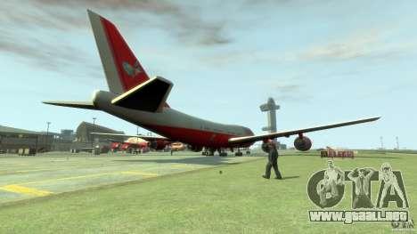 Fly Kingfisher Airplanes with logo para GTA 4 Vista posterior izquierda