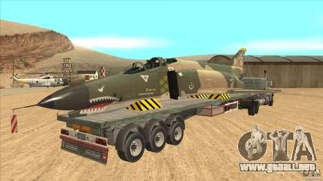 Flatbed trailer with dismantled F-4E Phantom para la visión correcta GTA San Andreas