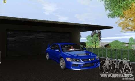 Mitsubishi Lancer Evolution 9 MR Edition para GTA San Andreas vista hacia atrás