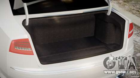 Audi S8 D3 2009 para GTA 4 vista hacia atrás