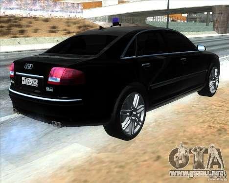 Audi A8L W12 para GTA San Andreas vista posterior izquierda