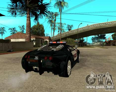Bugatti Veyron policía San Fiero para GTA San Andreas vista posterior izquierda