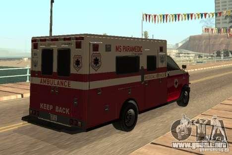 Ambulancia de GTA 4 para la visión correcta GTA San Andreas