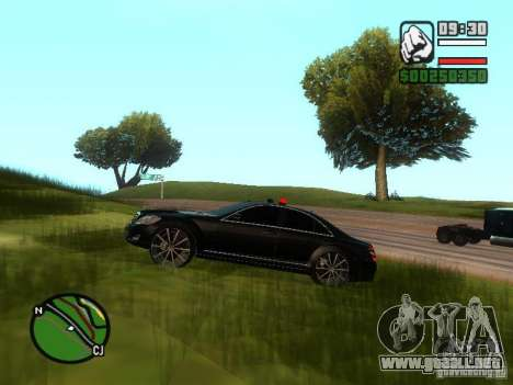 Mercedes-Benz S500 con luces intermitentes para vista lateral GTA San Andreas