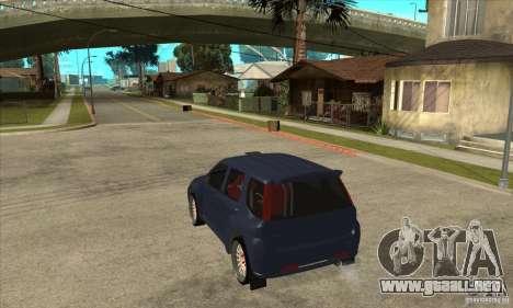 Suzuki Ignis Rally para GTA San Andreas vista posterior izquierda