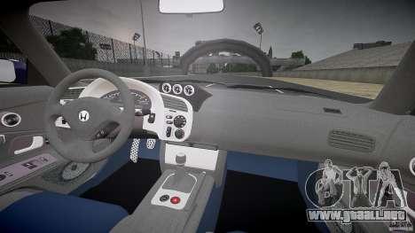 Honda S2000 2002 Tuning 2 calma la piel para GTA 4 vista hacia atrás