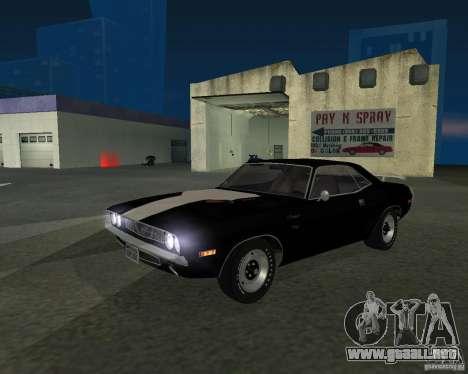 Dodge Challenger para GTA San Andreas vista posterior izquierda