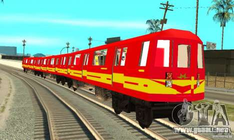 Liberty City Train Red Metro para GTA San Andreas vista posterior izquierda
