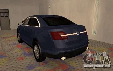 Ford Taurus Interceptor Unmarked 2013 para la visión correcta GTA San Andreas
