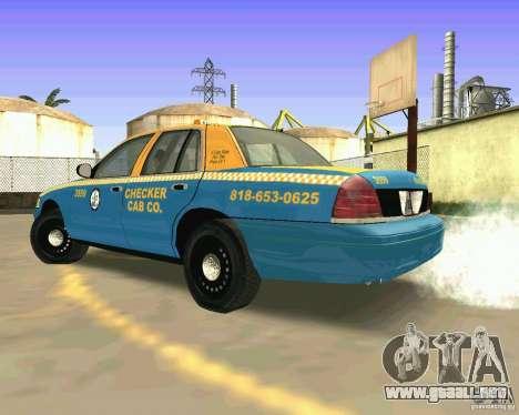 Ford Crown Victoria 2003 Taxi Cab para GTA San Andreas vista posterior izquierda