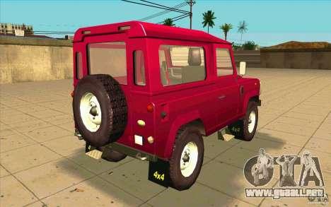 Land Rover Defender 90SW para GTA San Andreas vista posterior izquierda