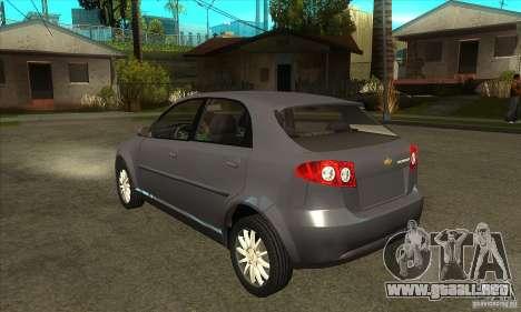 Chevrolet Optra 2011 Hatchback para GTA San Andreas vista posterior izquierda