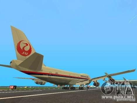 Boeing 747-100 Japan Airlines para la visión correcta GTA San Andreas