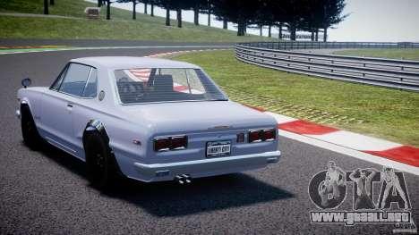 Nissan Skyline 2000 GT-R para GTA 4 Vista posterior izquierda