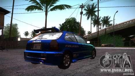 Honda Civic Tuneable para GTA San Andreas interior