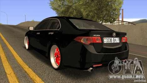 Acura TSX Doxy para GTA San Andreas vista posterior izquierda