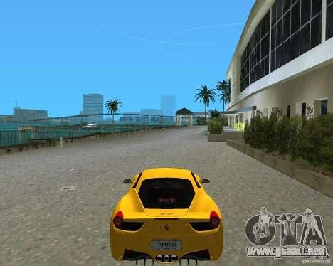 Ferrari 458 Italia para GTA Vice City vista lateral izquierdo