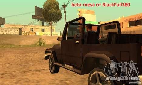 Mesa From Beta Version para GTA San Andreas left