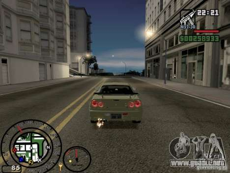 El fuego de los tubos de escape v2.0 para GTA San Andreas tercera pantalla