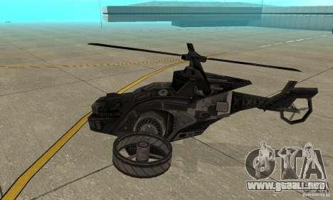 Un helicóptero desde el juego TimeShift Black para GTA San Andreas vista posterior izquierda
