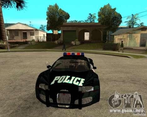 Bugatti Veyron policía San Fiero para GTA San Andreas vista hacia atrás