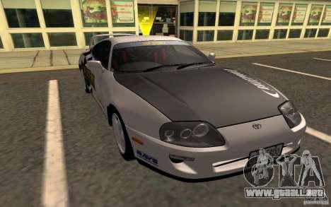 Toyota Supra RZ 1998 para GTA San Andreas vista posterior izquierda