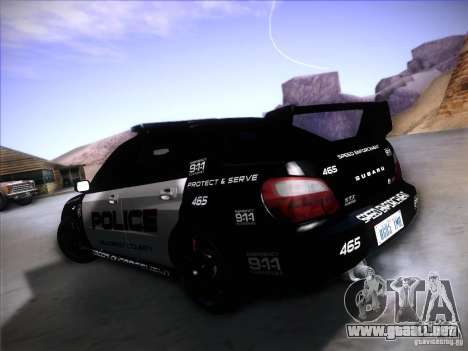 Subaru Impreza WRX STI Police Speed Enforcement para GTA San Andreas left