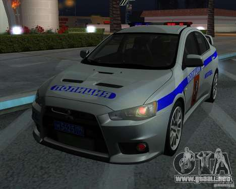 Mitsubishi Lancer Evolution X PPP policía para visión interna GTA San Andreas