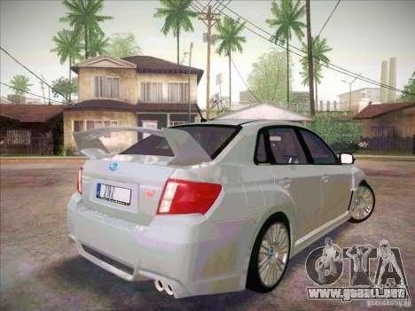Subaru Impreza WRX STI 2011 Sedan para GTA San Andreas vista posterior izquierda