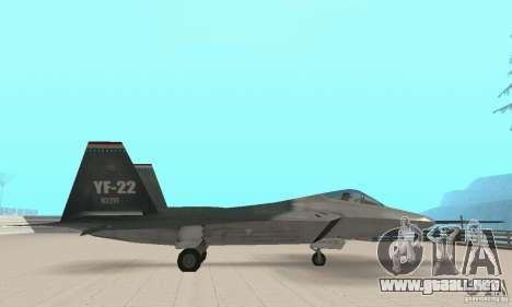 Y-f22 Lightning para GTA San Andreas vista posterior izquierda