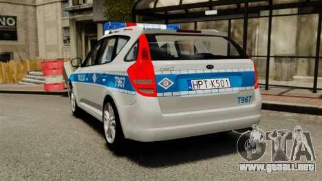 Kia Ceed 2011 SW Polish Police ELS para GTA 4 Vista posterior izquierda