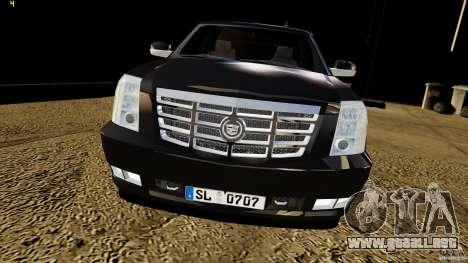 Cadillac Escalade 2007 v3.0 para GTA 4 visión correcta