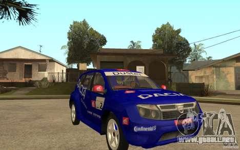Dacia Duster Rally para GTA San Andreas vista hacia atrás