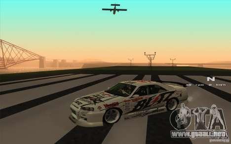 Nissan Skyline ER34 D1GP Blitz para GTA San Andreas vista posterior izquierda