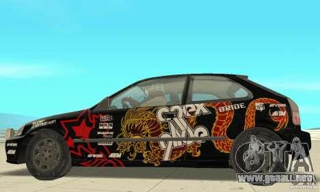 Honda-Superpromotion para GTA San Andreas vista posterior izquierda